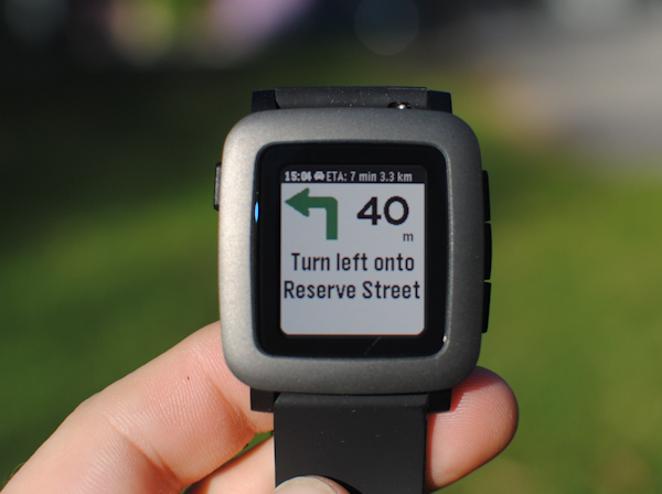 Turn-by-turn directions on the Pebble Time